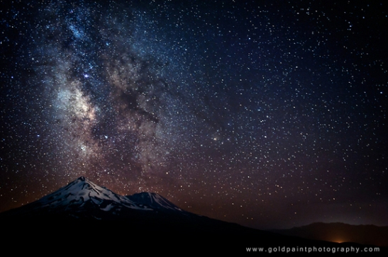 "Veteran night sky photographer Brad Goldpaint took this amazing photo of the Milky Way over Mount Shasta, California, during three years of astronomical photo sessions. The image is featured in Goldpaint's night sky observing video ""Within Two Worlds."" Credit: Copyright © 2012 Goldpaint Photography, All Rights Reserved"